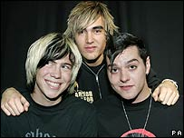 Busted members James Bourne, Charlie Simpson and Matt Willis