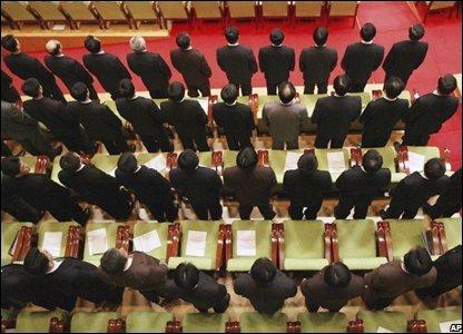 Audience members stand in East Pyongyang Grand Theatre, North Korea (26/02/2008)