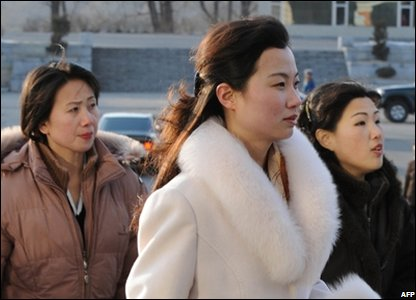 North Korean woman arrive at the East Pyongyang Grand Theatre, North Korea (26/02/2008)