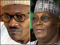 Losing presidential candidates Muhammadu Buhari (l) and Atiku Abubakar (r)