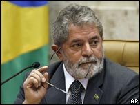 President Luiz Inacio Lula da Silva in a file photo from 1 February 2008