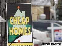 A sign advertising houses for sale in Detroit, Michigan