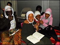 Girl students at the New York Islamic Cultural Center