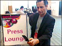 Vincent John Vincent of Gesturetek uses his motion-sensitive phone