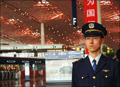 Pilot at the new third terminal at Beijing airport