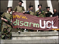 Students protesting - pic c/o Disarm UC