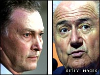 Richard Scudamore and Sepp Blatter