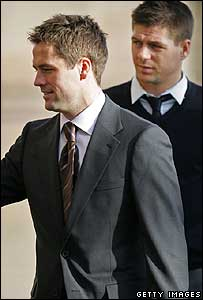 Michael Owen and Steven Gerrard arriving at court