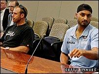 Matthew Hayden (left) and Harbhajan Singh