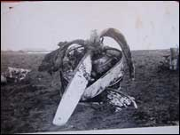 Wreckage of the plane on Winter Hill
