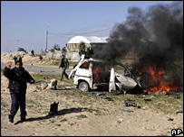 The vehicle destroyed by the Israeli air strike in Khan Younis (27 February 2008)