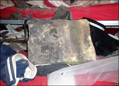 Masonry which fell into a man's bedroom in Barnsley