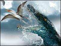 """Pliosaurio """"en acción"""" según dibujantes."""