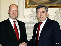 Fredrik Reinfeldt and Gordon Brown