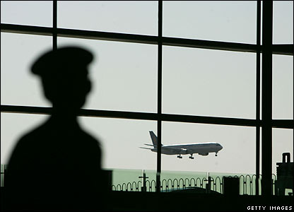A security guard inside Beijing airport's new terminal building