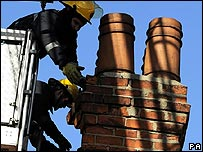 Firefighters tackle one of numerous collapsed chimneys in Hull