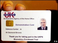 Specimen biometric identity card
