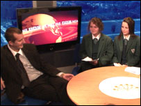 Pupils from Little Flower Girls School and Belfast Boys Model School interviewed Northern Ireland Minister for Culture, Arts and Leisure, Edwin Poots, in the BBC Stormont Live Studio