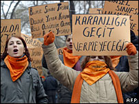 Protest in favour of a ban on headscarves in universities, Ankara, 16 February 2008