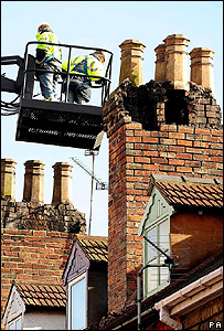 Chimney damage to two houses in Gainsborough, Lincolnshire.