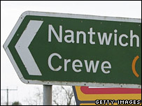 Cheshire road sign