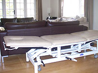 A massage table in the clinic