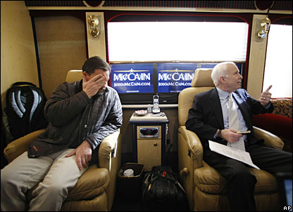 John McCain (R) and his speechwriter, Mark Salter