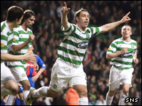 Scott McDonald celebrates Celtic's opener