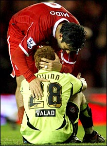 Mido consoles Sheffield United's Stephen Quinn at full time