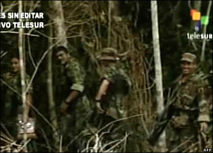 An image form Venezuelan network Telesur shows Farc rebels returning to the Colombia jungle upon the release of four hostages, 27 February 20008