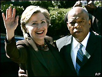Hillary Clinton (left) and John Lewis at a campaign event - 12/10/2007