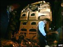 Scene of missile strike on Hamas'  Interior Ministry building 27.02.08