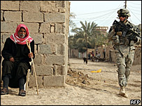 US troop on patrol in Iraq, Wednesday 27 Feb