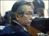 Peru's former President Alberto Fujimori attends a session of his trial at a police base in Lima - 27/02/08