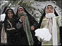 Iranian women during last month's snowfall in Tehran