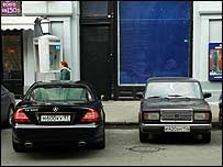 Cars parked in a Russian street