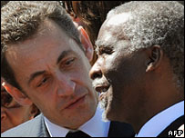 President Nicolas Sarkozy and South Africa's Thabo Mbeki
