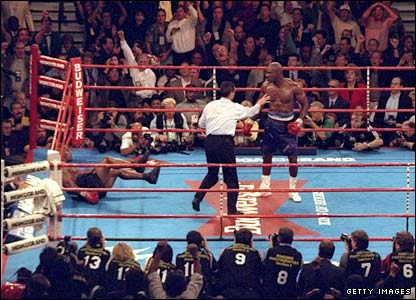 Tyson is floored by Evander Holyfield