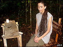 Undated image of Ingrid Betancourt in captivity