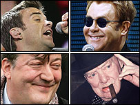 Clockwise from top left: Robbie Williams, Sir Elton John, Winston Churchill and Stephen Fry