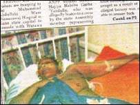 A photograph of the Triumph newspaper showing an injured Habiba Garba