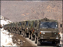 A convoy of Turkish military trucks with fresh troops arrive at Cukurca at the Turkey-Iraq border, 28 February 2008