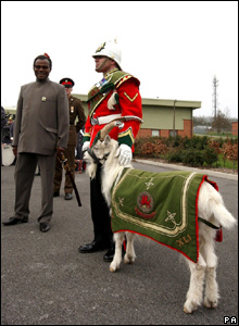 The Zulu leader also got to meet Taffy the regimental goat