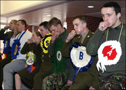 The youngest soldiers from  battalion competed n their annual St David's Day leek eating competition