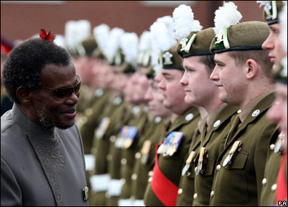 Chief Buthelezi inspected members of the 2nd Battalion The Royal Welsh at Lucknow Barracks in Wiltshire