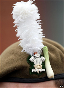 The soldiers were allowed to sport the miniature leeks on their berets in a special tribute