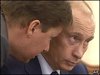 Gazprom's chief executive, left, with President Putin