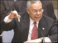 Colin Powell habla ante el Consejo de Seguridad de Naciones Unidas el 5 de febrero de 2003