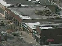 Damaged Waukegan shopping centre in Illinois, 28 February 2008