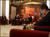 David Miliband and Minister Yang Jiechi in discussion in Beijing